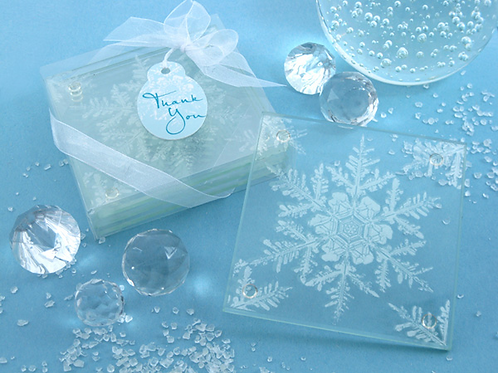 Shimmering Snow Crystal Frosted Snowflake Glass Coasters (Set of 4)