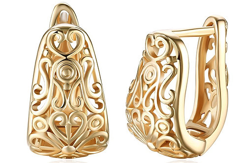 14K Gold Plating Filigree Laser Cut Clip On Earrings