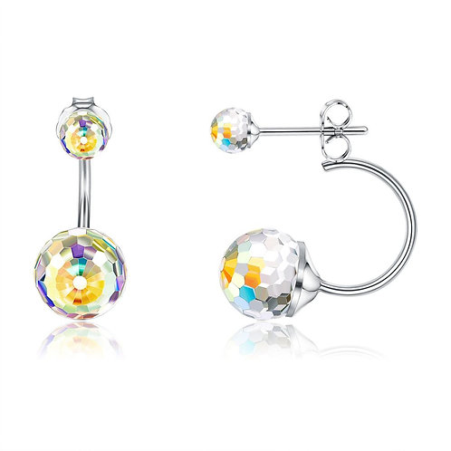 Sterling Silver Round Ball Aurora Borelias Ear