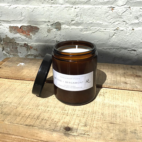 Oud + Bergamot Scented Soy Wax Candle