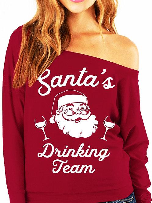 SANTA'S DRINKING TEAM Christmas Slouchy Sweatshirt