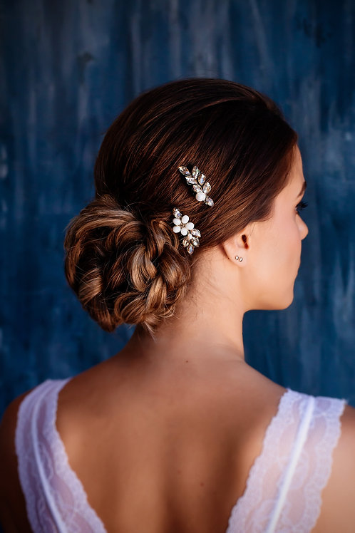 CLEMENTINE Small side hair combs gold Bridal hair clips