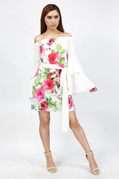 Off Shoulder Rose Print Bell Sleeve White Dress