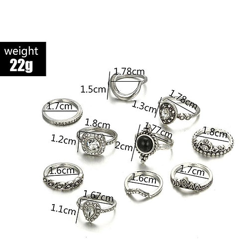Black & White 11 Piece Bohemian Ring Set