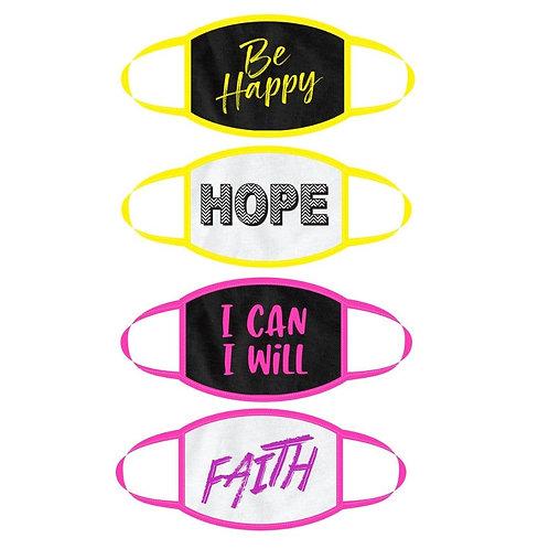 Super Cute*Be Happy Faith Hope I Can I Will  Choose 1 Mask 100 USA Made Cotton
