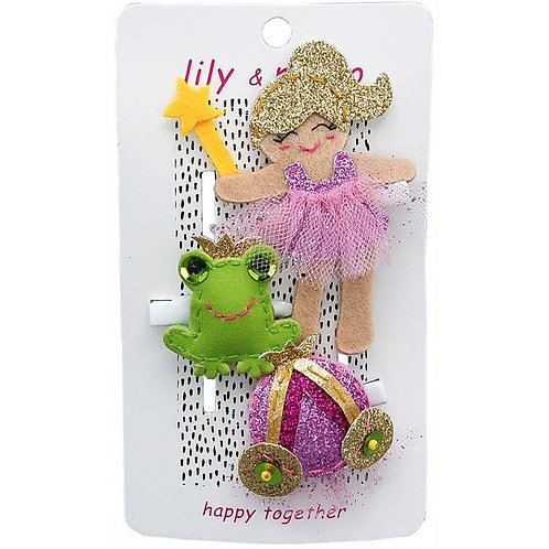 Princess and Frog Trio Hair Clips