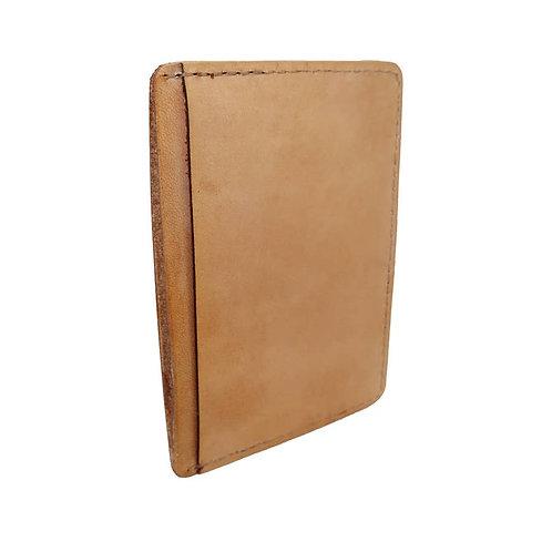 Men's / Women's Tan Natural Leather Front Pocket Wallet