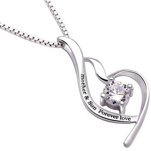 """""""Mother & Son Forever Love"""" Heart Necklace"""
