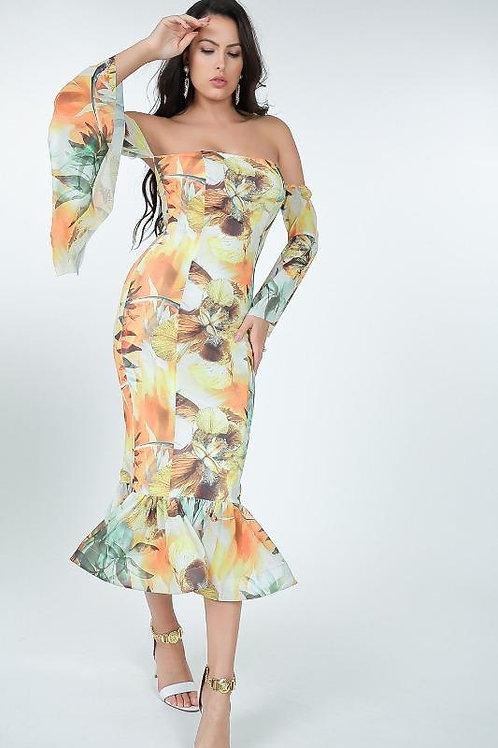 Off-Shoulder Ruffle Bottom Flower Maxi Dress