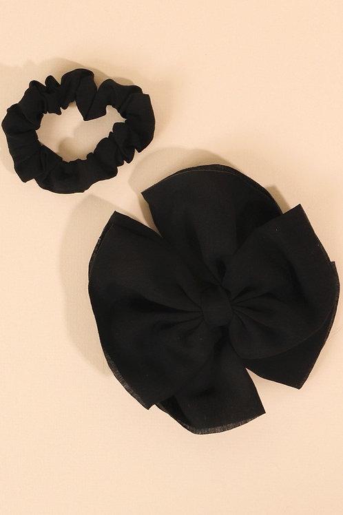 Solid Bow Barrette & Scrunchie Set