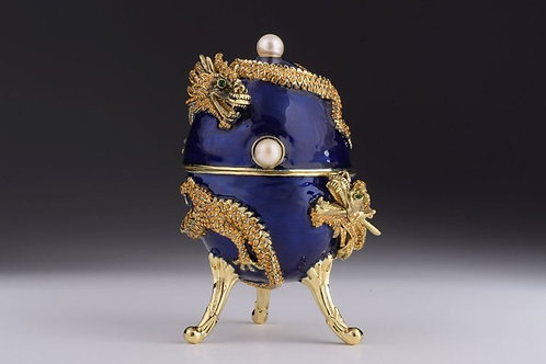 Keren Kopel Blue Faberge Egg with Dragon Music Playing Egg