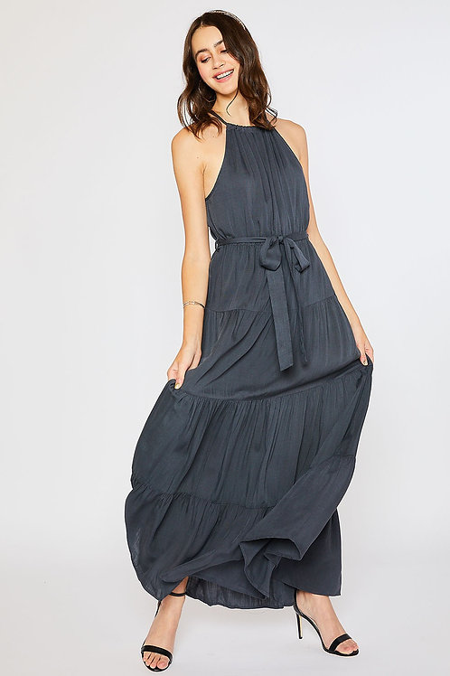 HALTER TIERED MAXI DRESS - Slate