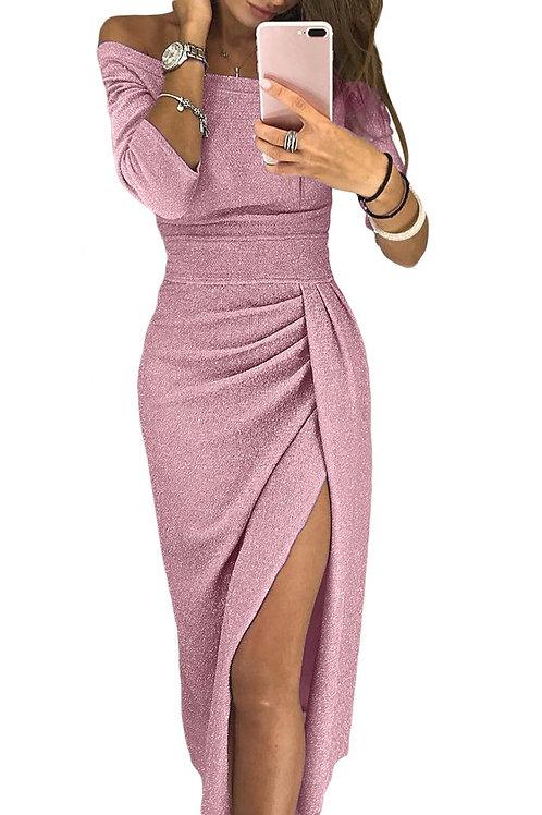 Pink Metallic Glitter Off Shoulder Formal Dress