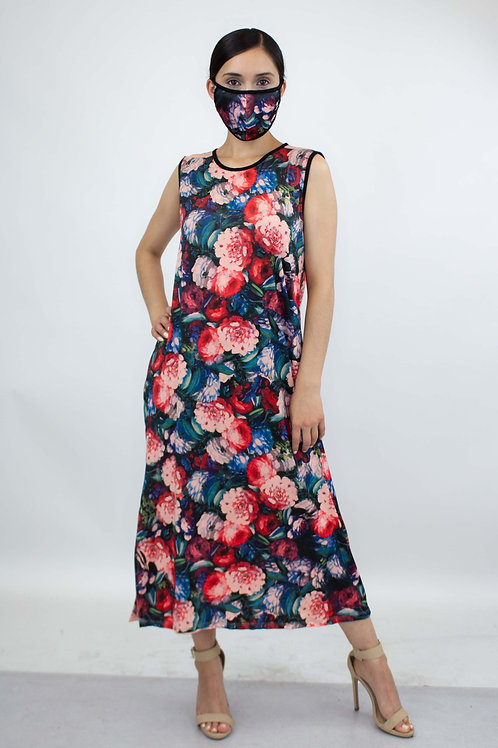 Bold Floral Print Long Dress and Matching Face Mask