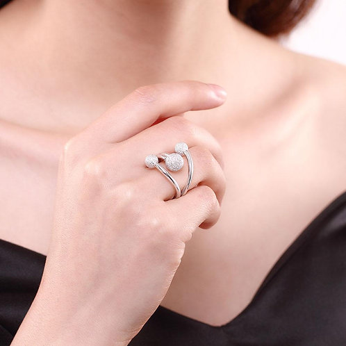 Triple Ball Sterling Silver Adjustable Ring