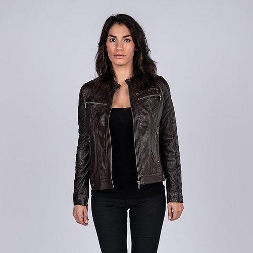 Ladies Elektra Washed Leather Jacket Brown