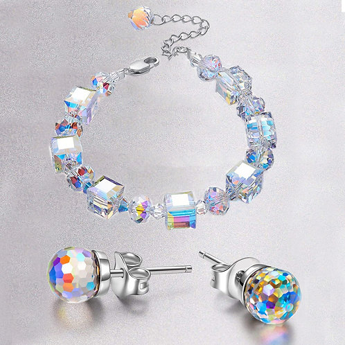 Round Cut Simulated Bracelet and Earring Set in 18K White Gold Plated