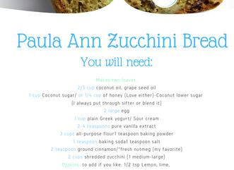 Paula Ann Zucchini Bread