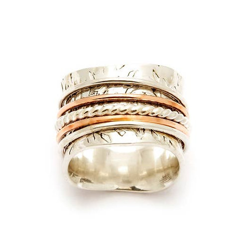 Spinning Ring With Copper And Ball Accent Wire