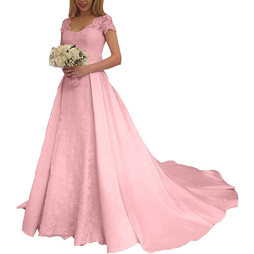 Women Wedding Dress V Neck Short Sleeve