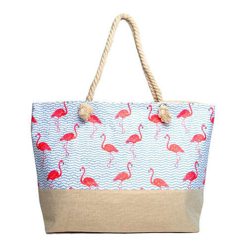 Flamingo Rhinestone Tote Bag