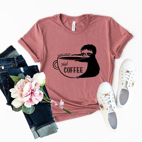 Sleepy Sloth Need Coffee Shirt