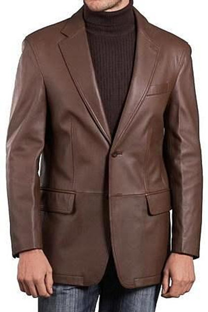 Mens Lambskin Choco Brown Leather Blazer