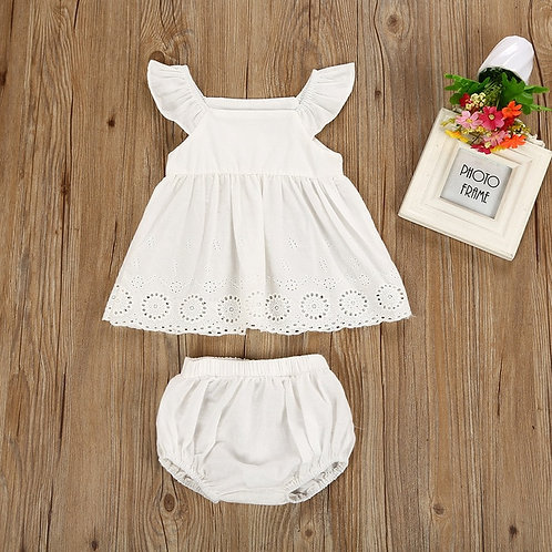 Newborn Kid Baby Girls Hollow Flower Party Dress
