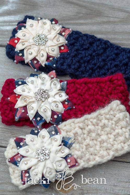 Hand Knit Snowflake Headband