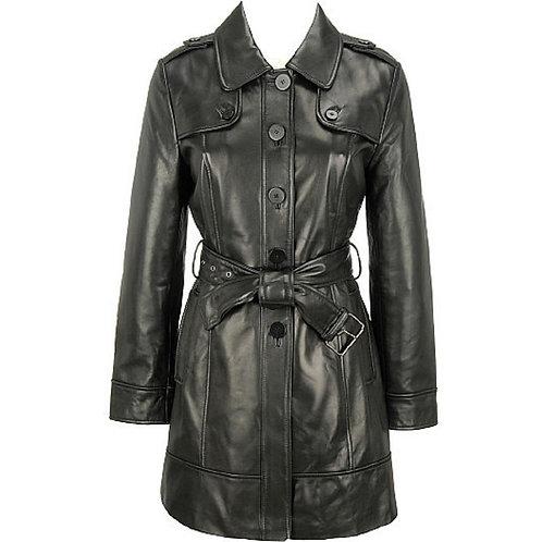 Women's Elegant Leather Trench Coat