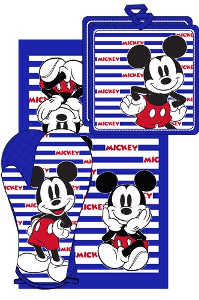3pc Kitchen Towel Set Mickey Mouse Stripes 3pc Blue & White