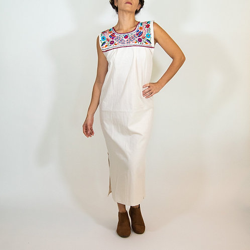 Maxi Isidra, White Mexican Embridered Dress