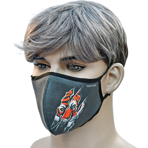 YaYmask USA Made Cloth Face Mask, High-Tech Fabric, Engineered Fit - Tiger