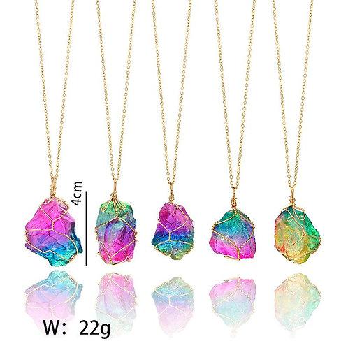 Rainbow Mineral Quartz Pendant Necklace in 14K Gold Plating
