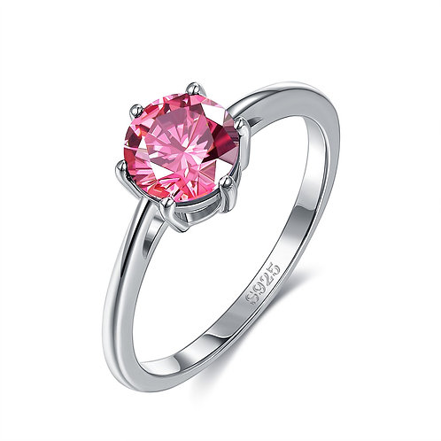 18K White Gold Plated Classic Round Cut Pink