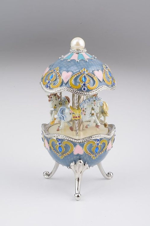 Keren Kopel Light Blue Faberge Egg with Horse Carousel