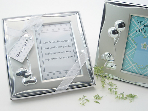 Bear's Best Wishes Brushed Photo Frame in Gift Box Favor