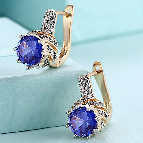 Vienna 1.00 Ct Sapphire Round Cut Huggie Earring in 18K Gold Plated