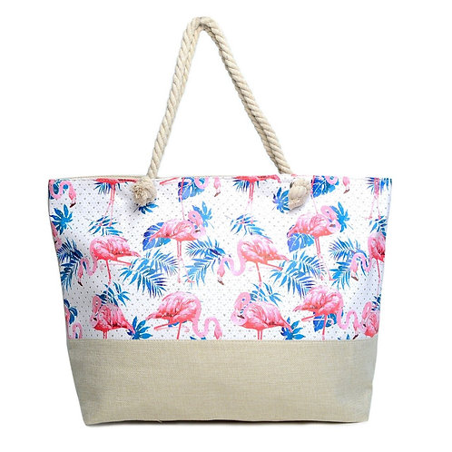 Flamingo & Palm Leaves Tote Bag