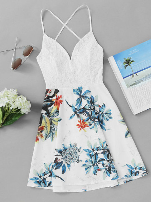 Criss Cross Back Lace Panel Tropical Print Dress