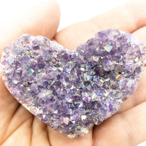 Polished Amethyst Druzy Heart with Angel Aura