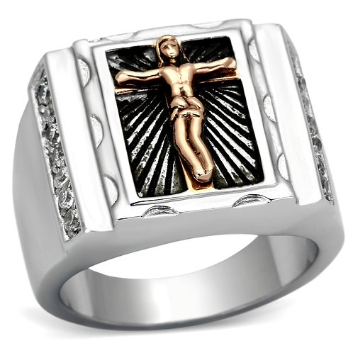 TK951 Two-Tone IP Rose Gold Stainless Steel Ring