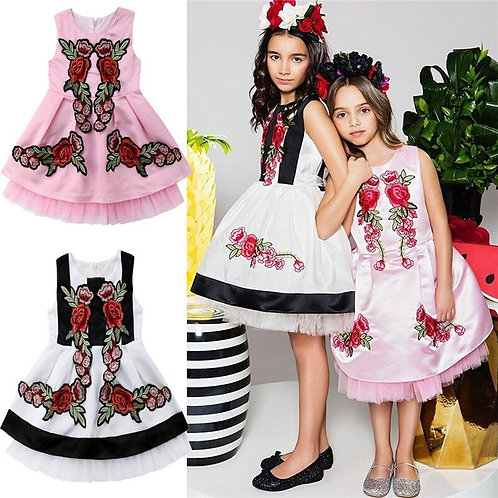 2-7 Years Kids Girl Applique Princess Dress Wedding