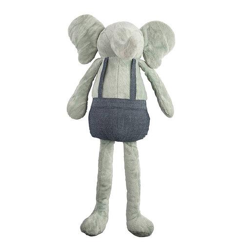 Gray Elephant Plush Huggie Doll in denim coveralls