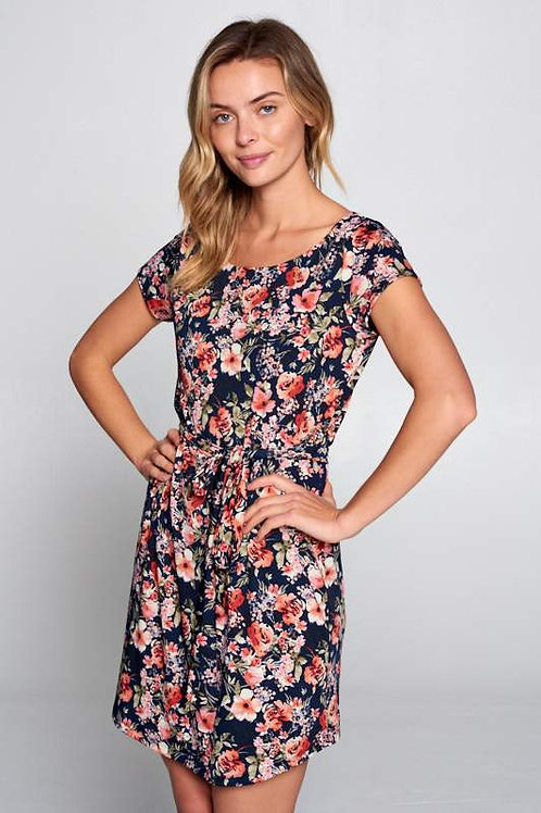 Floral Print Dress with Waist Tie