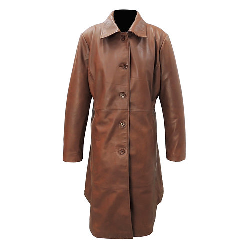 Womens Elegant Brown Leather Coat