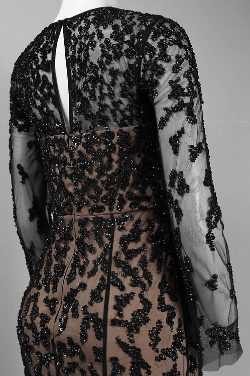 Long Sleeve Sequined Pattern Keyhole Detail Mesh Overlay Dress. Lined.