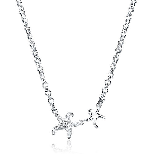 Double Starfish Necklace in 18K White Gold Plated