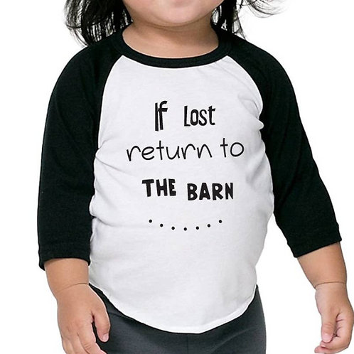 If Lost Return to the Barn Toddler Baseball Tee: Black & White