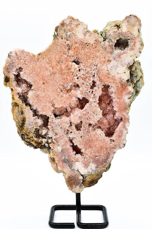 Dark Pink Amethyst Slab with Display Piece on Metal Stand